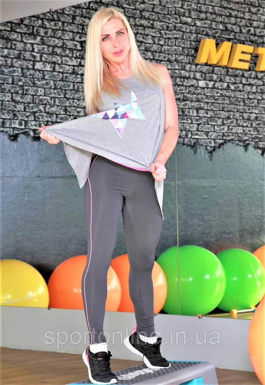 Женская майка для фитнеса и улицы Totalfit 32-P26 серая