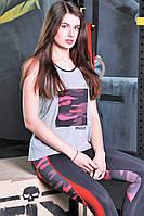 Майка спортивная женская Totalfit 31-P22 Серая с рисунком, фото 1