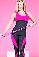 Майка женская спортивная Тоталфит 11-C3 черная с малиновым, фото 1