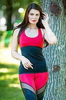 Майка женская спортивная Тоталфит 11-C4 черный с красным