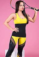 Майка женская спортивная Тоталфит 11-C1 желтая с черным