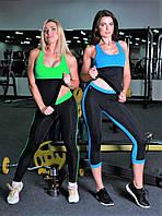Майка женская спортивная Тоталфит 11-C5 черная с голубым