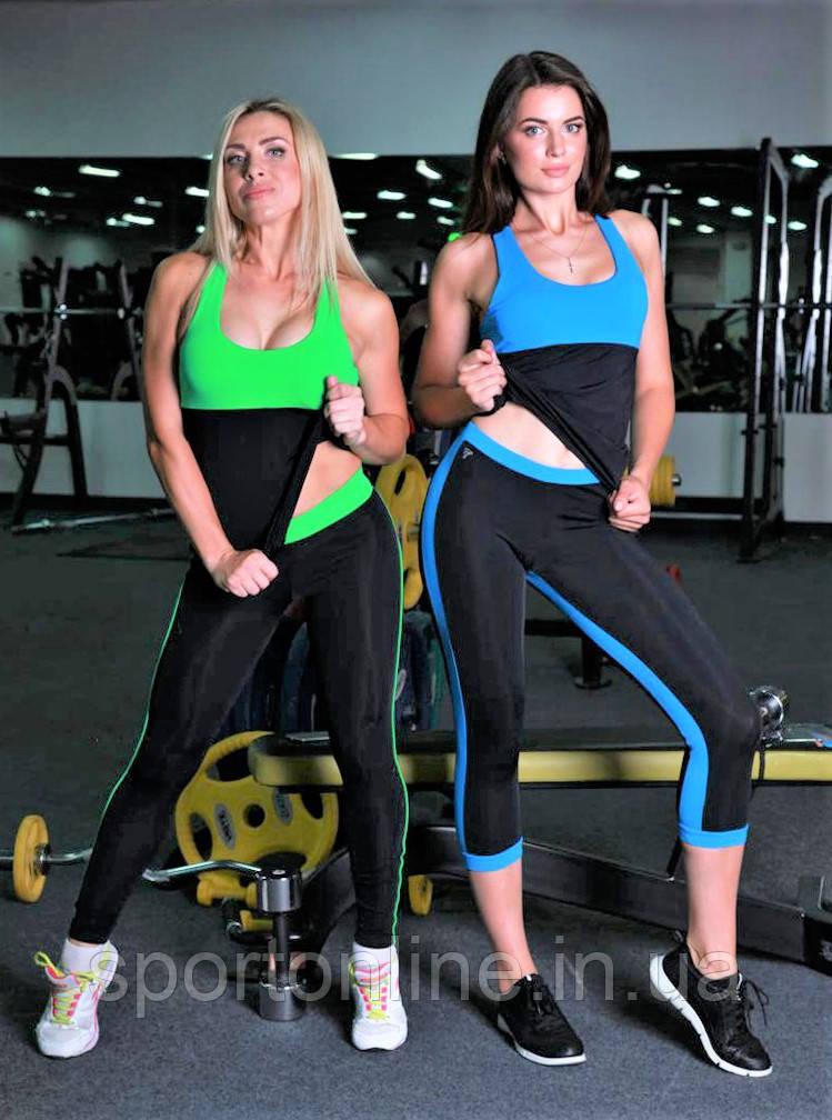 Майка женская спортивная Тоталфит 11-C5 черная с голубым XS