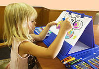 Большой художественный набор для детского творчества 208 шт голубой