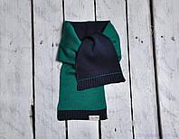 Шарф детский двухцветный, зелено-синий