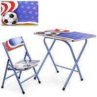 Столик A19-FB  складной, столешница 60-40см, 1стульчик, в кор-ке, футбол