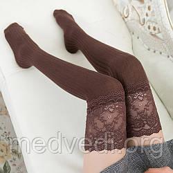 Коричневі жіночі панчохи-шкарпетки з мереживом