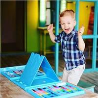 Большой художественный набор для детского творчества 208 шт, голубой