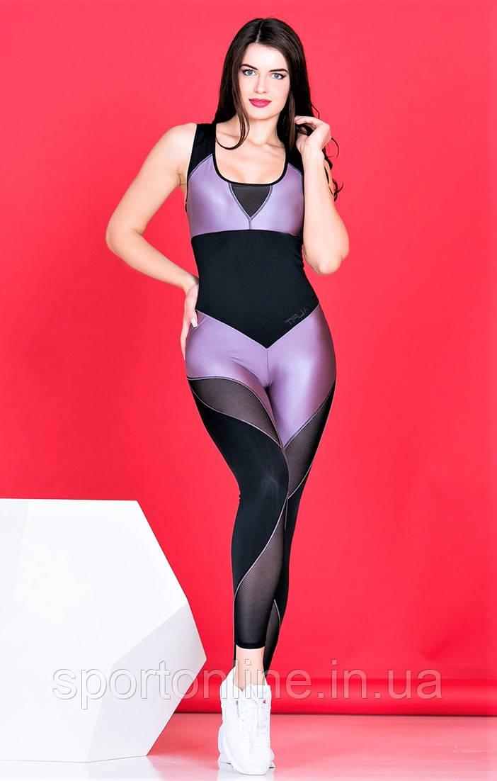Комбинезон спортивный женский Totalfit F241-C24 черный с лиловым