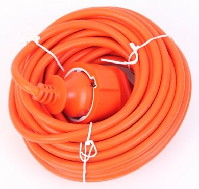 Шнур УШ-01РВ оранж. с круглой вилкой и розеткой 2Р+PЕ 3х1/20метров
