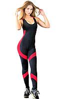 Комбинезон для фитнеса и спорта женский Totalfit F25-C4 черный с красным