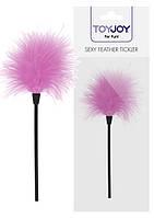 Перышко для ласк  фирмы   Toy Joy Sexy Feather Tickler Pink Длина 22см. Оригинал