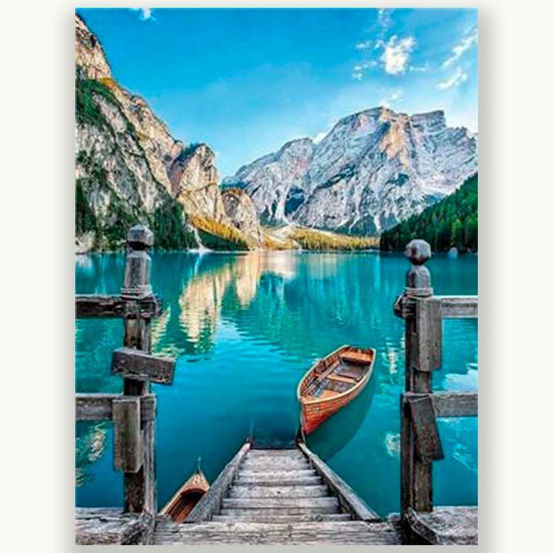 Картина раскраска по номерам на холсте 40*50см Josef Otten RA3303_B Озеро в горах