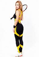 Комбинезон для фитнеса и спорта женский Totalfit F25-C1 черный с желтым, фото 1