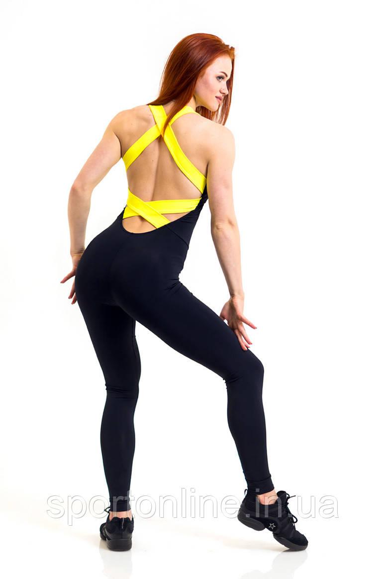 Комбинезон для фитнеса Totalfit F12-C1, черный с желтыми бретелями