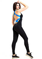 Комбинезон для фитнеса женский Totalfit F12-C5, черный с голубыми бретелями