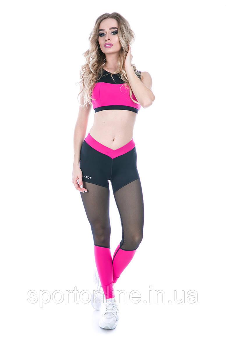 Спортивные лосины с сеткой Totalfit S5-C3 черные с розовым