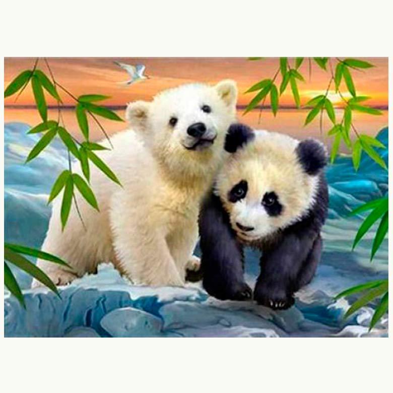 Картина раскраска по номерам на холсте 20*30см Josef Otten ОРР 2132RAS_O Медвежонок с пандой