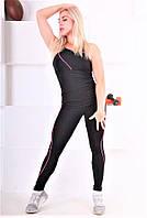 Леггинсы спортивные черные с розовой полоской Totalfit S26-C2, фото 1