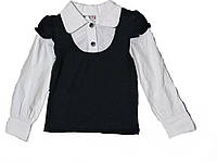 Блуза школьная комбинированная  для девочки 122 см