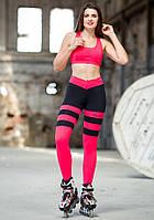 Лосины для фитнеса Totalfit S30-C27 Пчелка светло-красные с черным, фото 1