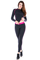 Лосины для спорта Totalfit S11-C3 черные с розовым поясом, фото 1