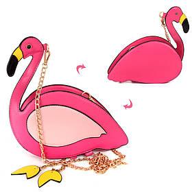 Сумочка 17-10-F  фламинко, 22-13-6см, застежка-молния. длинная ручка-цепочка,в кульке