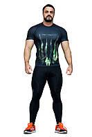 Рашгард мужской с коротким рукавом + Totalfit RMS316 Черный с зеленым XXL, фото 1