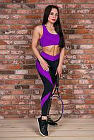Лосины спортивные с высокой талией Totalfit черные с фиолетовым S27-C28, фото 1