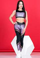 Лосины для фитнеса и спорта Totalfit сатин, черный с лиловым S15-C24, фото 1
