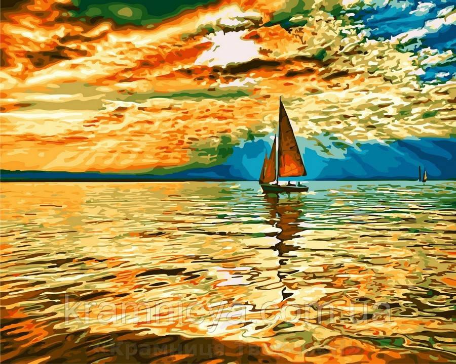 Картина по номерам 40x50 Парусник на рассвете, Rainbow Art (GX30290)