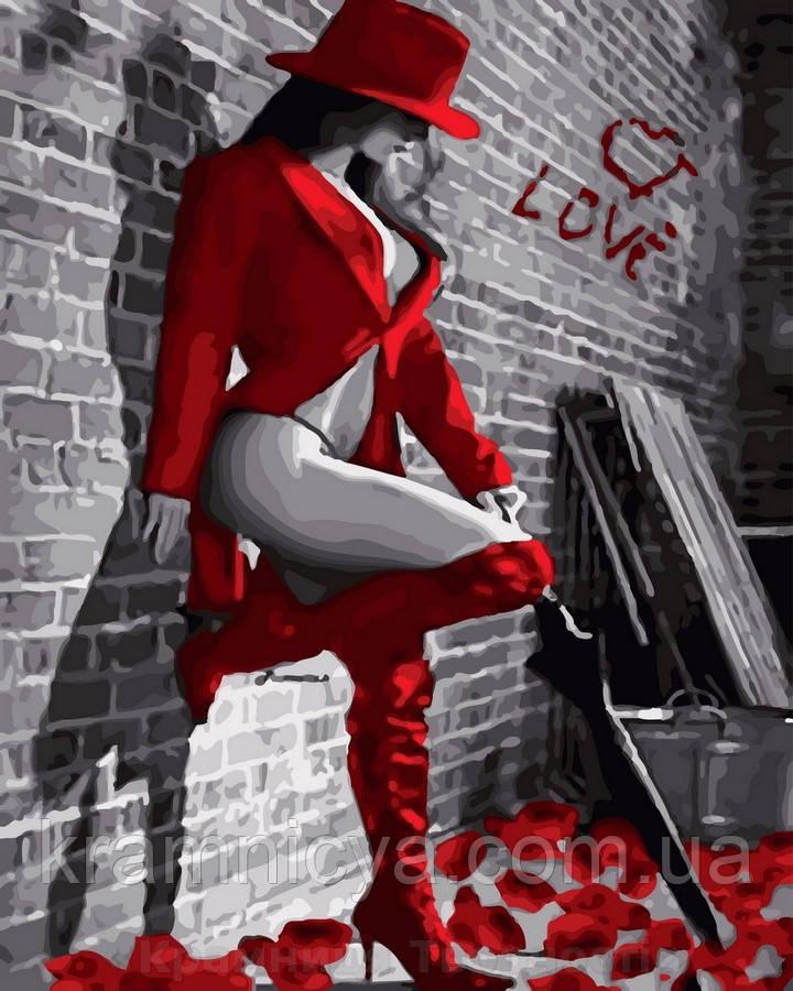 Картина по номерам 40x50 Дама в красном, Rainbow Art (GX30670)