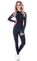 Комбинезон женский спортивный Totalfit F6 черный с розовым, фото 1