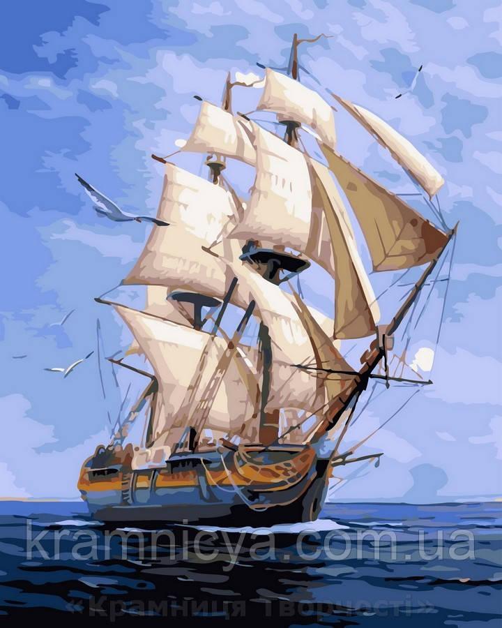 Картина по номерам 40x50 Белый парусник, Rainbow Art (GX32896)