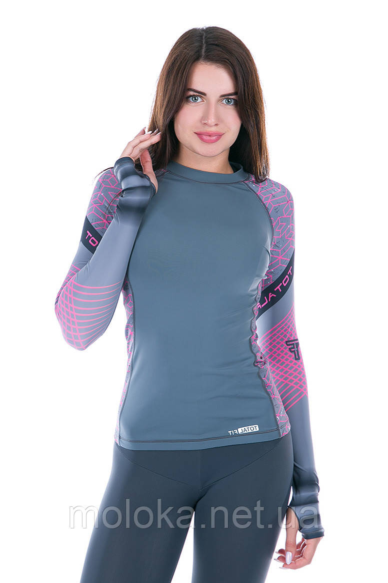 Рашгард женский Totalfit RW1-15 черный,розовый, фиолетовый