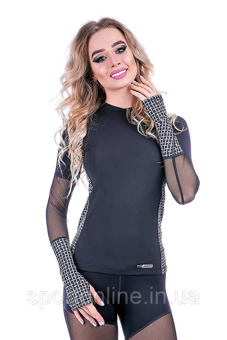 Рашгард женский Totalfit RW3-P43 черный с серым