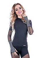 Рашгард женский Totalfit RW3-P43 черный с серым, фото 1