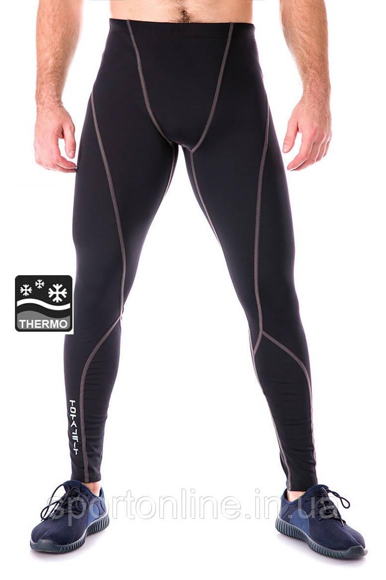 Теплые мужские лосины для спорта (тайтсы) Totalfit TG7, черные с серым