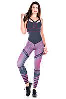 Комбинезон для фитнеса Totalfit F26-P39 Серый с розовым, фото 1