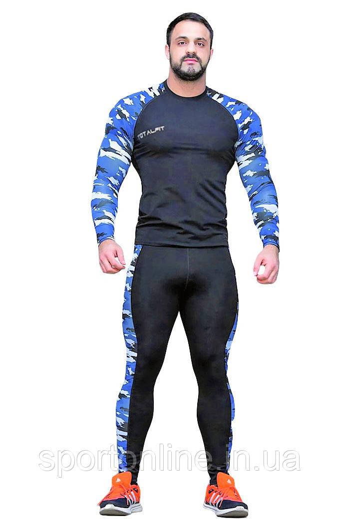 Рашгард мужской Totalfit RM3-P41 черный с синим
