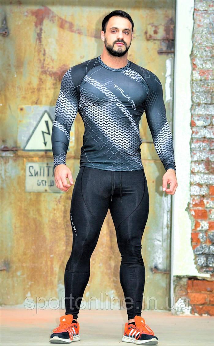 Рашгард мужской с длинным рукавом Totalfit RM313 Серый с черным