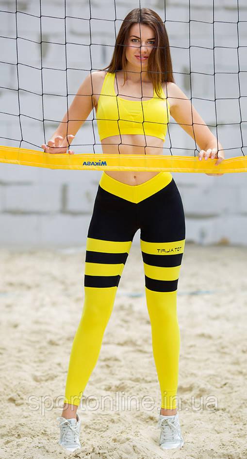 Лосины для фитнеса Totalfit S30-C1 Пчелка желтые с черным
