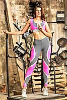Лосины спортивные Totalfit серые с розовым S43, фото 1