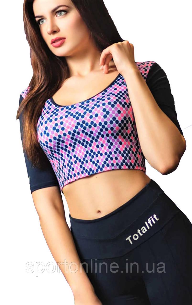 Кроп топ для фитнеса Totalfit Z-2 Темно-синий с розовым S