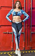 Леггинсы спортивные Totalfit темно-синие с серым поясом S32-P21, фото 1