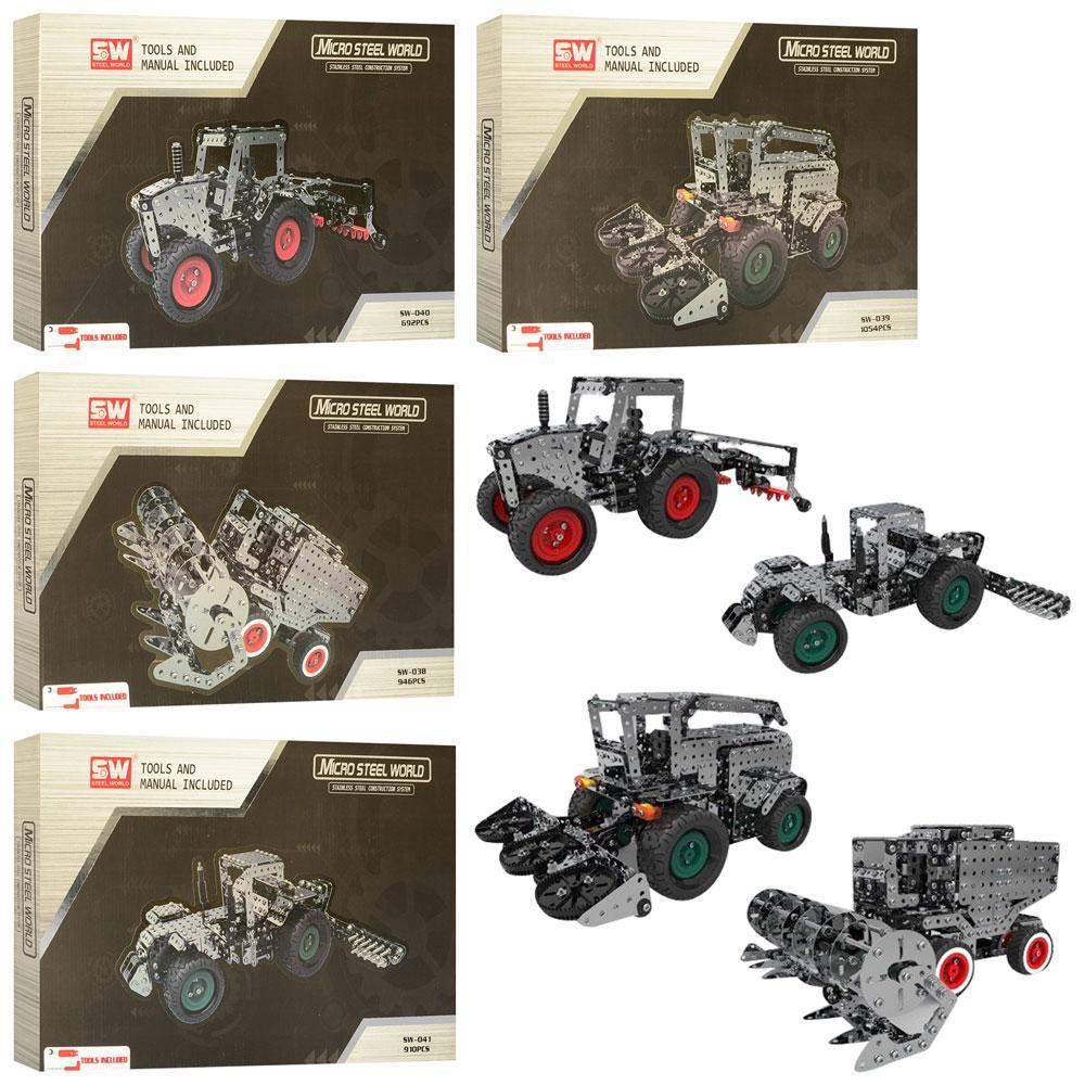 Конструктор SW-038-9-0-1  металл, сельхозтехника, от 692дет, 4вида, в кор-ке, 36,5-23-4см