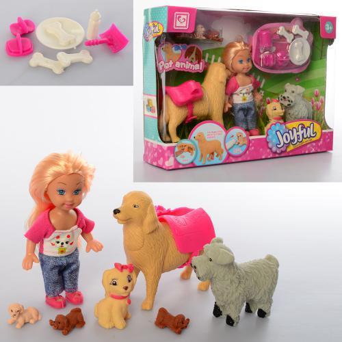 Кукла K899-107  12см, собачки 6шт,от2см до 10см, аксессуары, в кор-ке, 25-17,5-5,5см