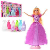 Кукла с нарядом DEFA 8266  29см, платья 8шт,обувь,аксессуары, 2 вида, в кор-ке,66,5-35-6см