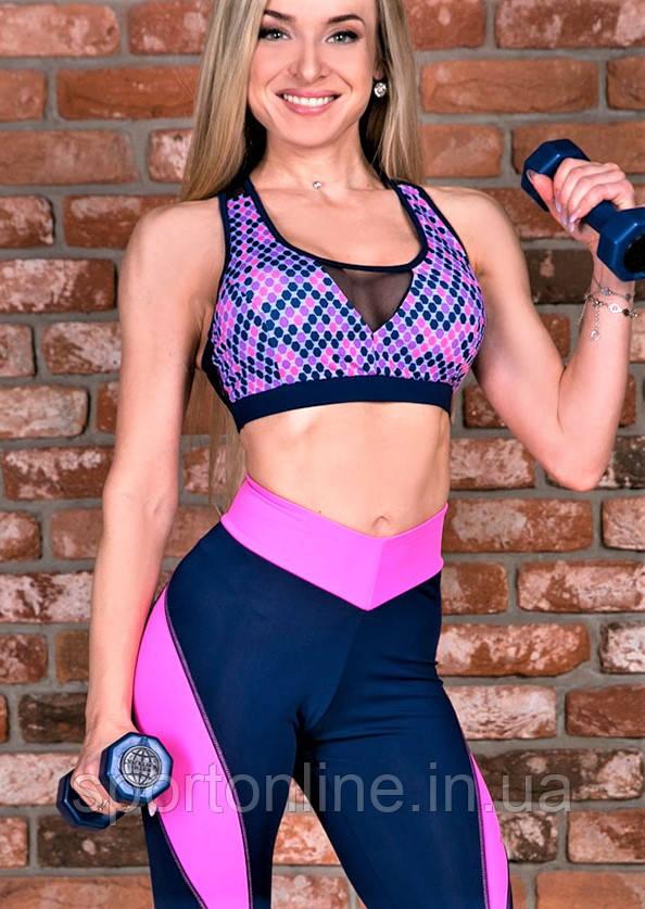 Топ спортивный Totalfit T12 Синий с розовым