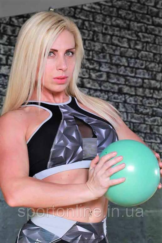Топ женский спортивный Totalfit T-35 Черный с серым